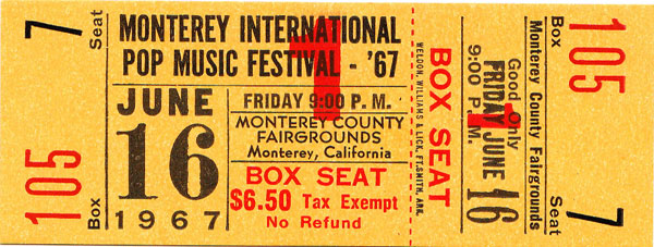 Monterey Pop Festival Ticket